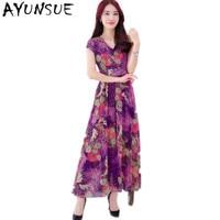 Women Summer Dress 2019 Elegant Beach Clothing Ladies Dresses Bohemian Purple Long Dress Plus Size 4XL Vestidos Chiffon FYY464