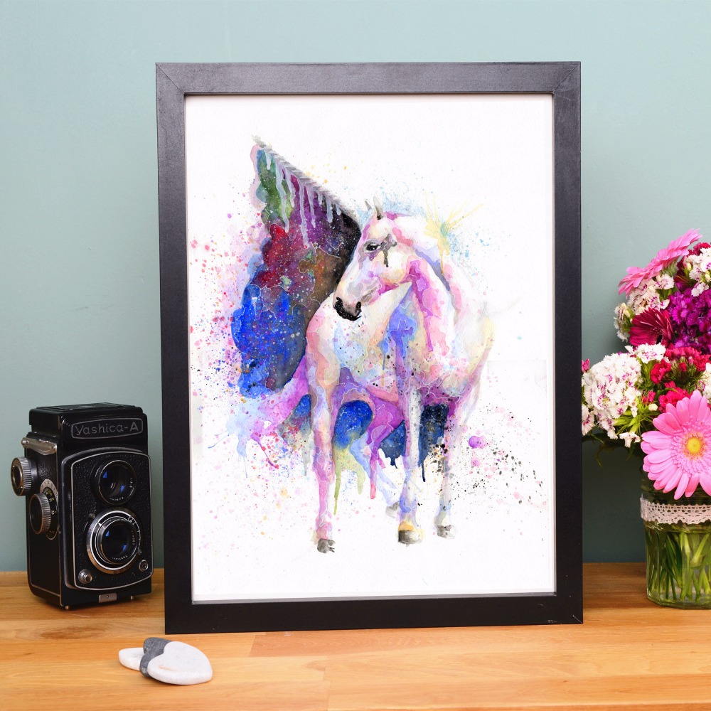 Buy vintage unicorn watercolor canvas art for Decorative home products