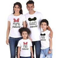 Famille correspondant chemise Minnie manches courtes dessin animé hauts père mère fils fille correspondant vêtements famille Look Mickey chemises