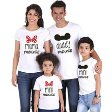 Family matching Shirt Minnie Short Sleeve Cartoon Tops Father Mother Son Daughter Matching Clothes Family Look Mickey Shirts family matching clothes summer fashion mother daughter dress father son short sleeve cotton tshirt patchwork striped family look