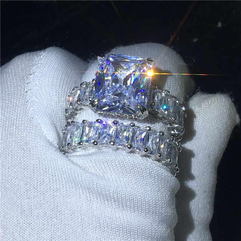 VINTAGE เจ้าหญิงตัด 925 แหวนเงินชุดสเตอร์ลิง AAAAA CZ หินแหวนหมั้นแหวนแฟชั่นเครื่องประดับ