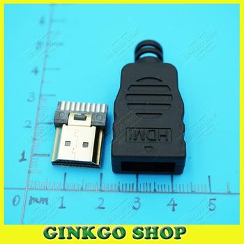 100sets/lot HDMI male Jack 19pin Connector,  HDMI Male Plug Jack Soldering Type