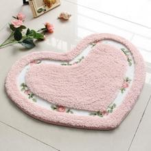 Коврик в форме сердца для гостиной, столовой, спальни, коврики, Нескользящие замшевые коврики, стирающийся коврик для ванной, разноцветный Коврик для йоги