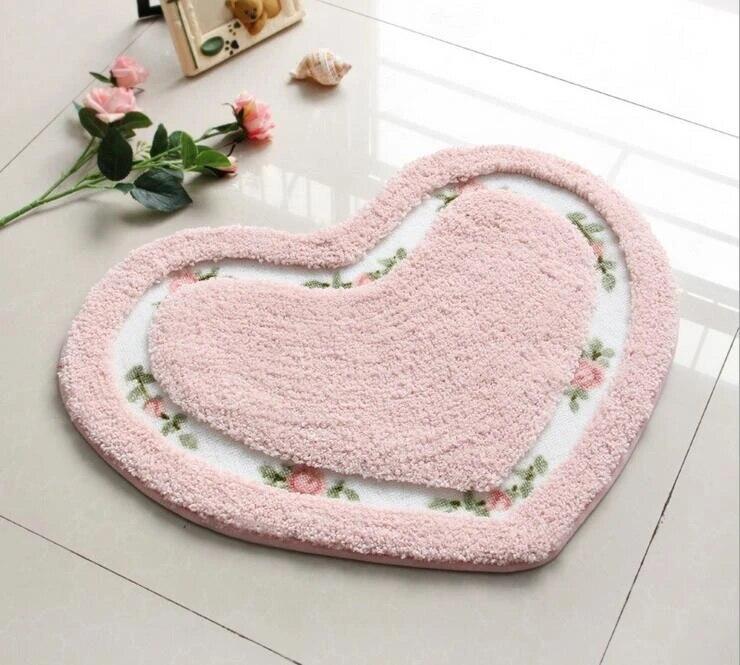 tapis en forme de cœur pour salon salle a manger chambre a coucher antiderapant en daim lavable pour salle de bain yoga multicolore