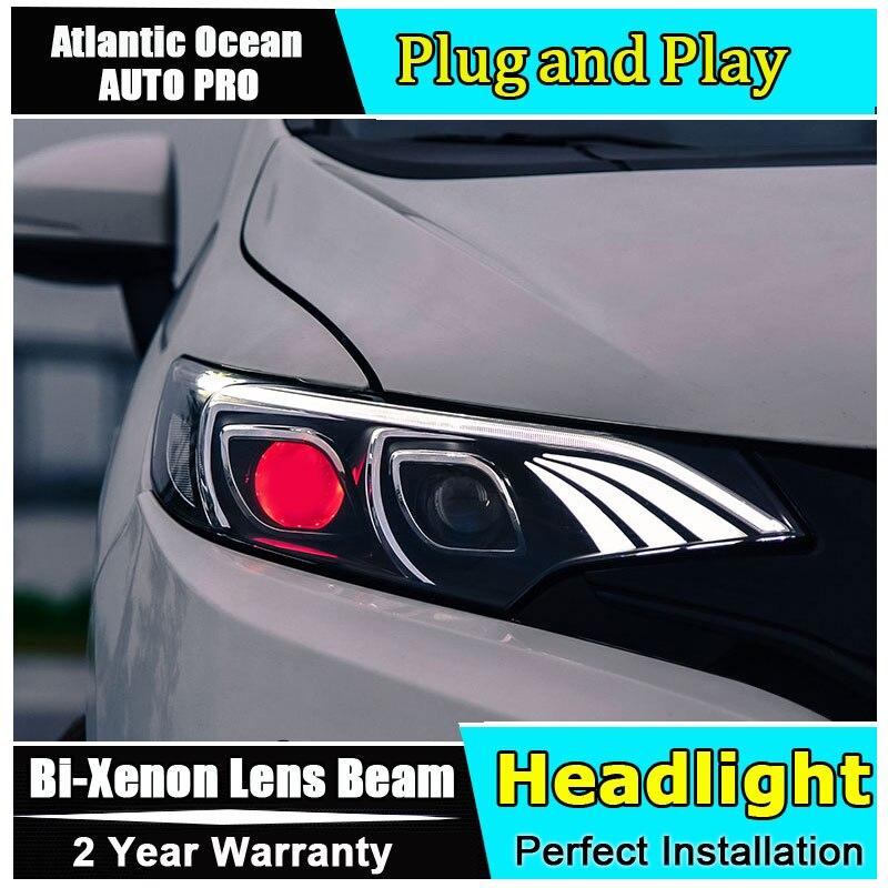 Auto.Pro Car Styling for Honda Fit LED Headlights 2015-2016 For Honda Fit Lens Double Beam H7 HID Xenon bi xenon lens hireno headlamp for 2016 hyundai elantra headlight assembly led drl angel lens double beam hid xenon 2pcs