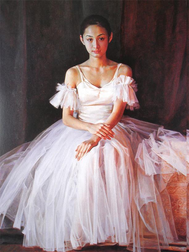 3c3bceef85618 ᐊÜcretsiz kargo beyaz elbise Bale boyama baskılı yağlıboya WK-(432 ...