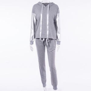 Image 3 - XUANSHOW Streetwear bawełniany dres codzienny damski jesień zimowy zamek błyskawiczny nieregularne szwy bluzy długie spodnie dwuczęściowy garnitur