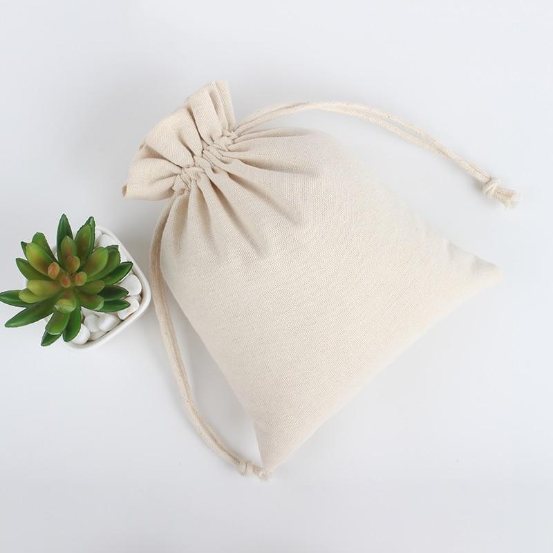 100Pcs/Lot 10*12cm Custom Logo Printed Natural Jute Linen Drawstring Pouch Packaging Bag
