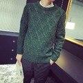 Outono e inverno o-pescoço pulôver camisola roupas masculinas grossas losango do vintage camisola ocasional masculino