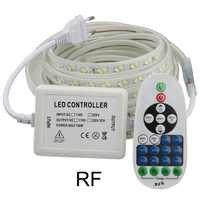 Ściemniania RF zdalnego sterowania LED taśmy LED 220 V 220 V SMD5730 wodoodporna taśma LED 120 diod/m wstążka taśma lampa pokój IL