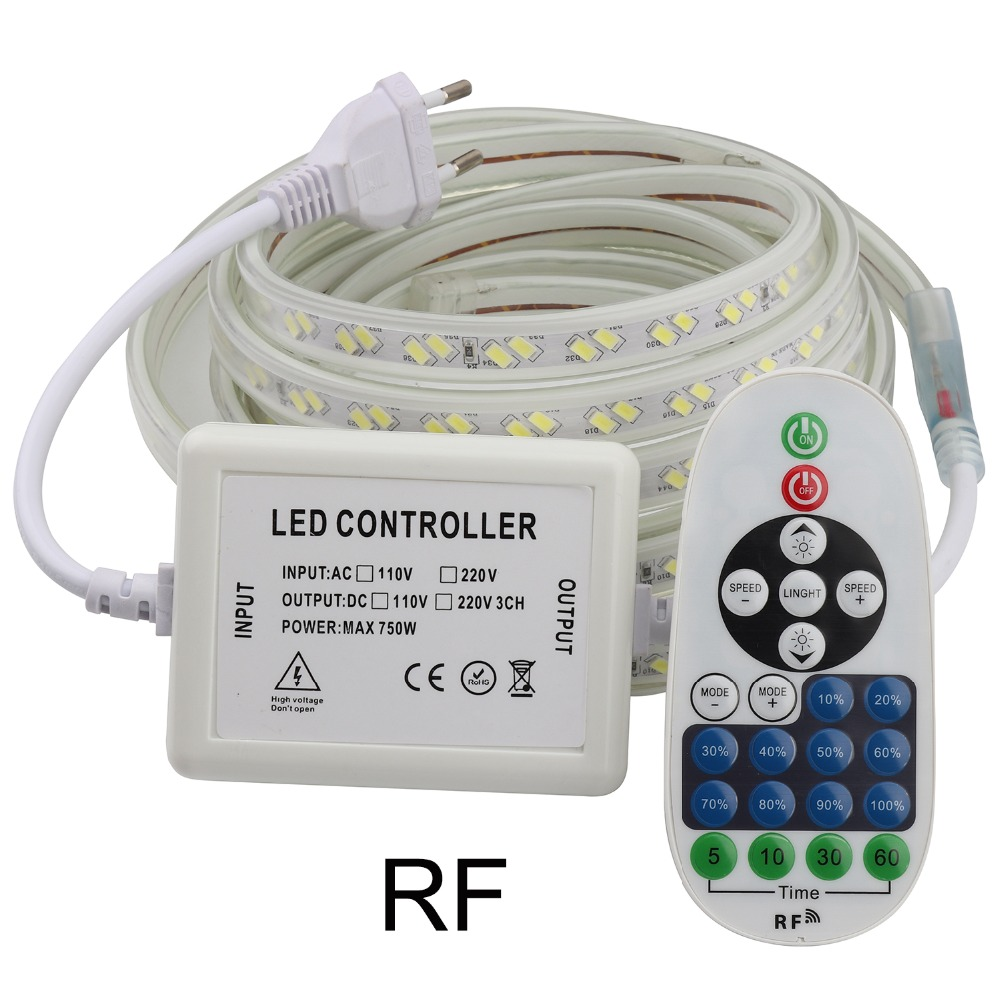 Dimmable RF Remote Control LED Strip Light 220V 220 V SMD5730 Waterproof LED Strip 120 Leds/m Ribbon Stripe Tape Room Lamp IL