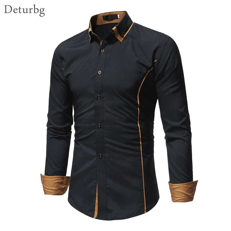 Men Fashion Contrast Color Shirt Casual Man's Clothes Double Collar Long Sleeve Buttoned Black Slim Fit Shirts Top 2018 New MB06