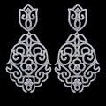 Alta calidad marca de lujo micro pave AAA Cubic Zirconia pendientes para mujeres, plateado platino de la joyería pendientes para la boda / partido