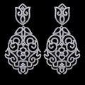 Alta qualidade marca de luxo micro pave AAA brincos Cubic Zirconia para mulheres, Platinadas jóias brincos para o casamento / festa