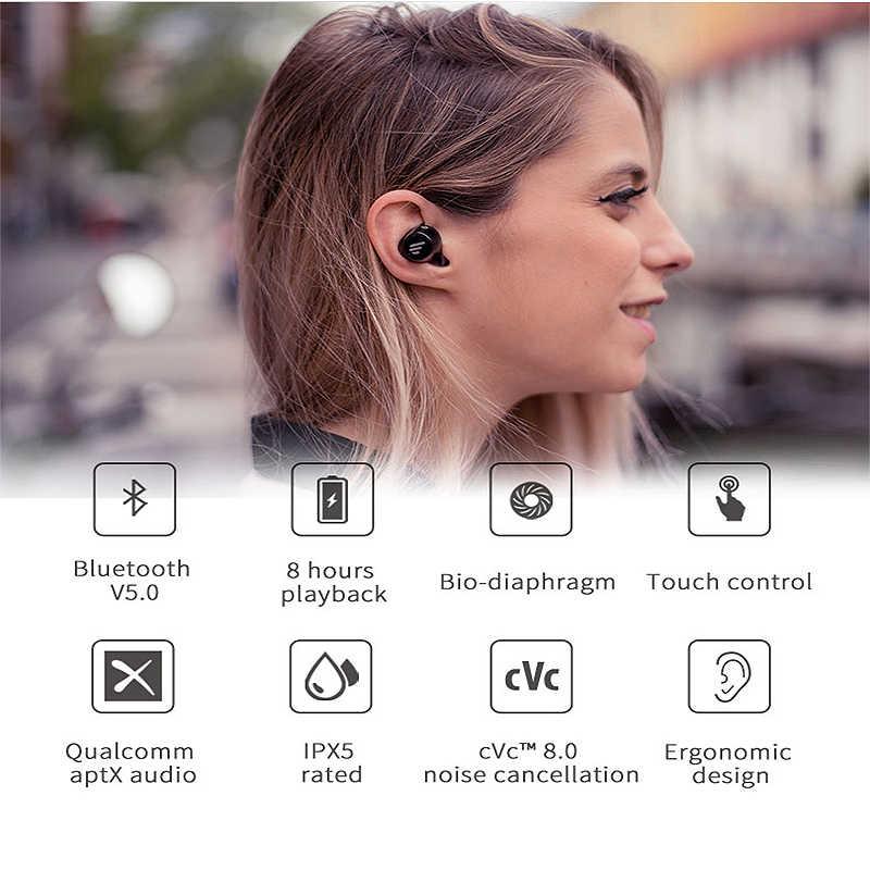 EDIFIER TWS1 bezprzewodowe słuchawki Bluetooth 5.0 słuchawki douszne z redukcją szumów douszne IPX5 Aptx Smart Touch zestaw słuchawkowy dla aktywnych dla xiaomi IOS