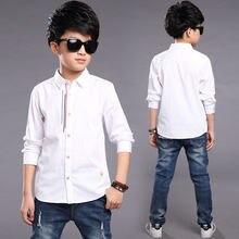 Детская одежда рубашки для мальчиков подростков с длинным рукавом