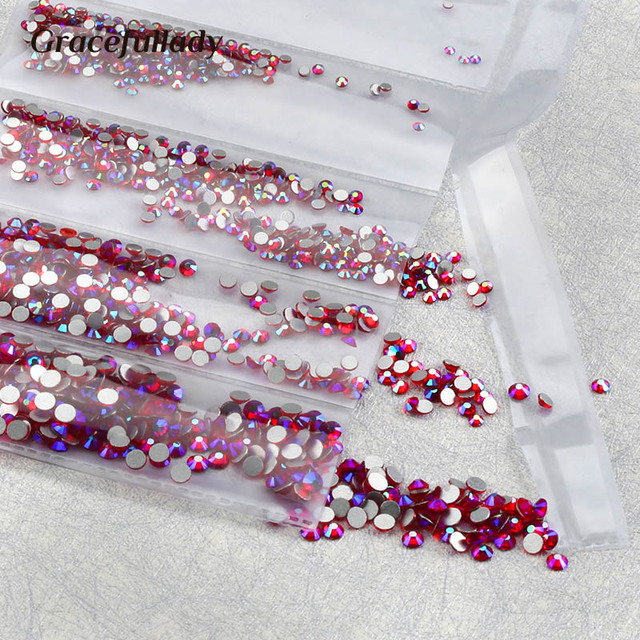 Multi-Size Glass Nail Rhinestones For Nails Art Decorations Crystals Strass Charms Partition Mixed Size Rhinestone Set 2