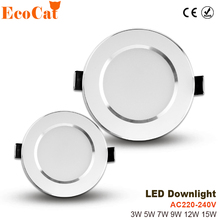 ECO Cat led spotlight ceiling 220V 3W 5W 7W 9W 12W 15W Aluminum lampada led 240V for bedroom cold white warm white