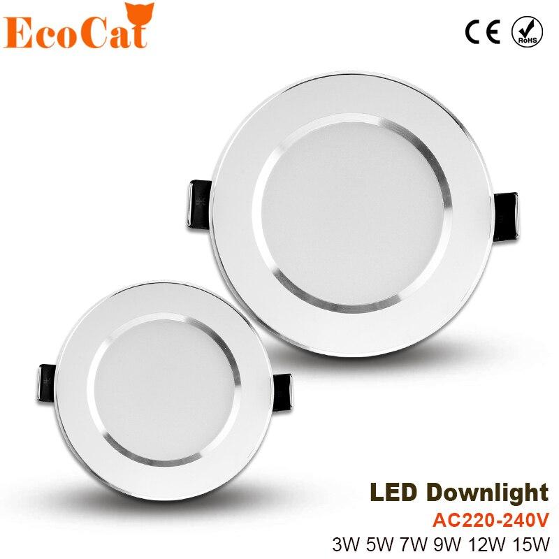 LED Spot Tavan 220 V 3 W 5 W 7 W 9 W 12 W 15 W Alüminyum Lampada led 240 V yatak odası için soğuk beyaz sıcak beyaz