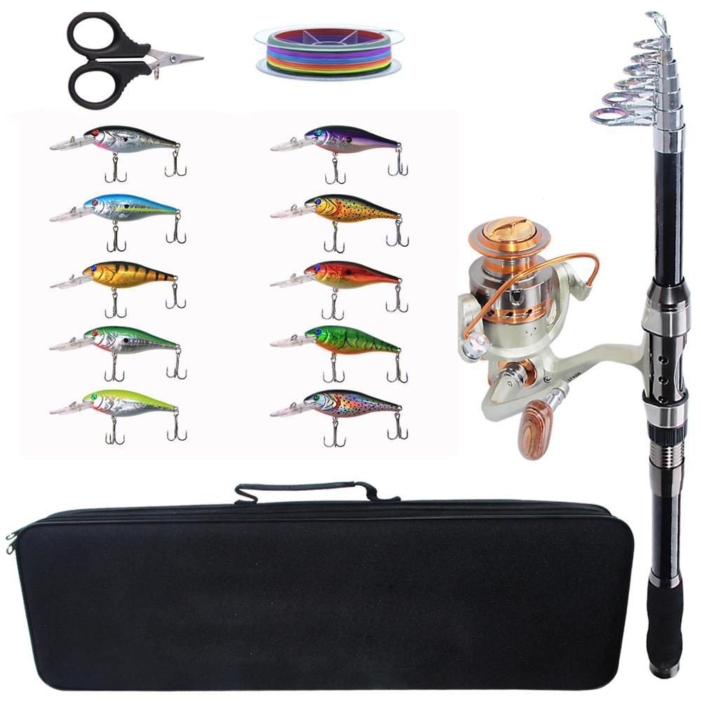 Spinning Fishing Rod Combo Tools Kit Telescopic Carbon Fishing Rod Reel Set With Hard Lures For Fishing(China)
