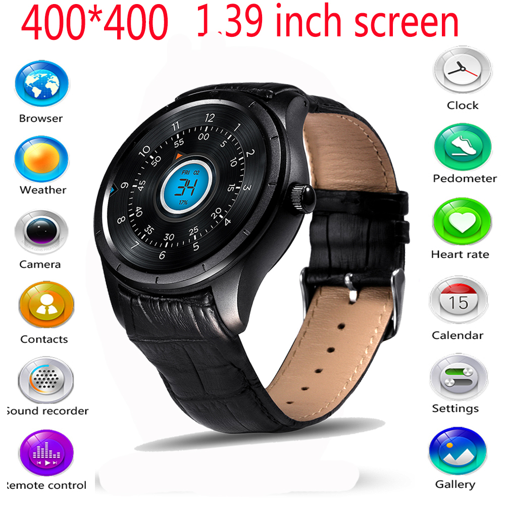 2016 New Q3 Smart Watch 400 400 1 39 inch AMOLED Display Android OS Heart Rate