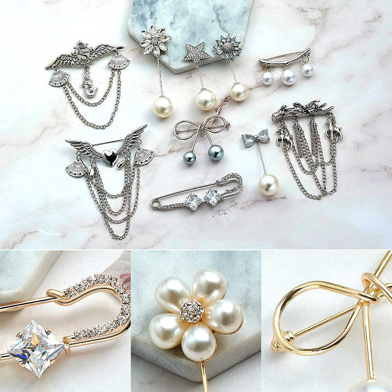 Shuangr Fashion PIN WANITA/Gadis Bros Mutiara Imitasi Pesona Klasik Ikatan Simpul Aksesoris Sederhana Double Mutiara Bros Perhiasan