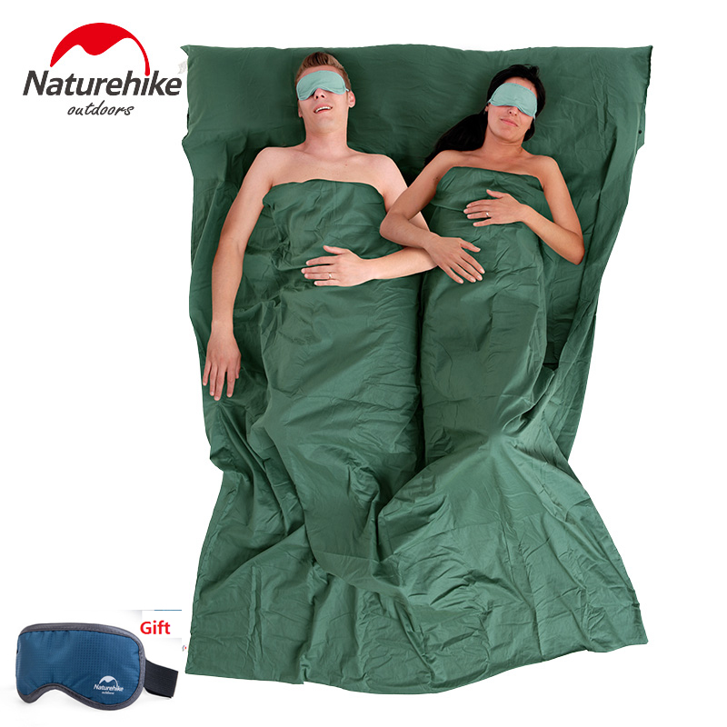 Naturehike factory sell Outdoor Camping Travel Ultra-light Portable Double Sleeping Bag Liner 100% Cotton Healthy naturehike portable double sleeping bag liner bags 2colors 2200x1600mm ultra light spring summer camping envelope lazy bag 850g