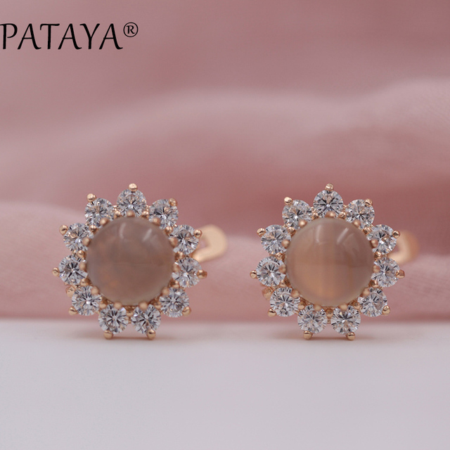 PATAYA New Arrivals Women Multicolor India Wedding Jewelry Sunflower Onyx Natural Stone Earrings 585 Rose Gold Dangle Earrings