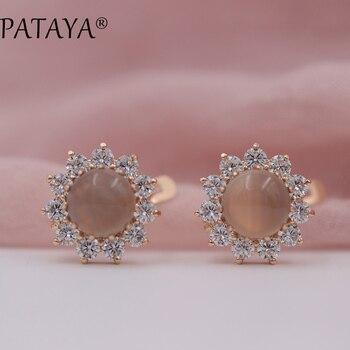 56c5acfb4631 Pattaya nuevo llegadas mujeres multicolor joyería de la boda india girasol  Onyx Piedra Natural Pendientes 585 oro rosa cuelga Pendientes