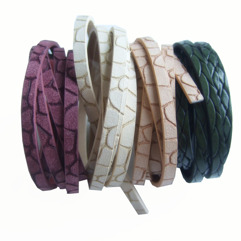 1meter/pcs 5mm PU Flat Leather Cord 5x2mm Flat Faux Leather Cord DIY Jewelry Findings Craft Supplier 5x2mm