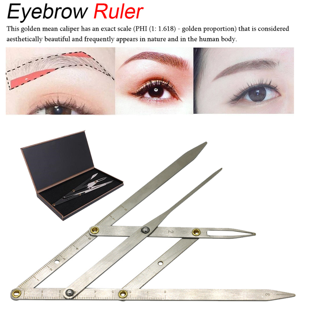 Stainless Steel 1pcs Permanent Makeup Eyebrow Ruler Golden Ratio Divider Caliper Stencil Shaping Tool Tattoo Accessories 1