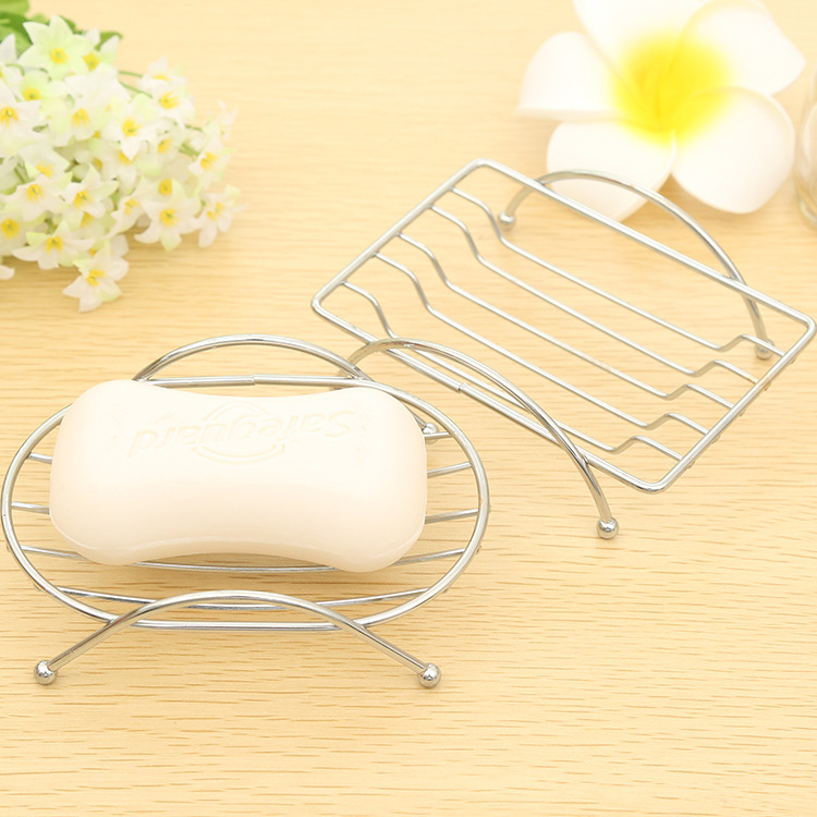 Random ship 2016 NEW Hot Sale 1 Piece Fashion Brief Stainless Steel Bathroom Soap Dishes Box Holder Tray High Quality