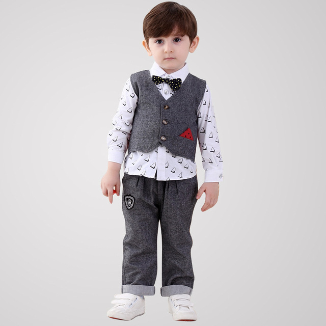Baby Boy Christening Dress Gentleman Boys Kids Formal Childrens Clothing Long Seleeve Vest Wedding Suit