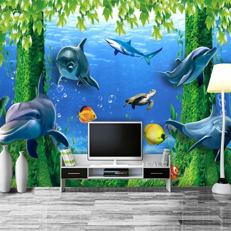 Custom 3D Photo Wallpaper Undersea Tree Dolphin Wall Mural Fantasy Style Children's Room Wall Paper Home Decor Papel De Parede
