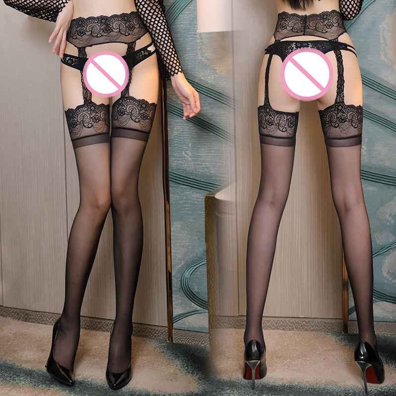 Luxury 12D Sexy One Piece Stockings Set With Garters 6 Styles Transparent Silk Black Knee High Socks Nylon Stretchy Pantyhose