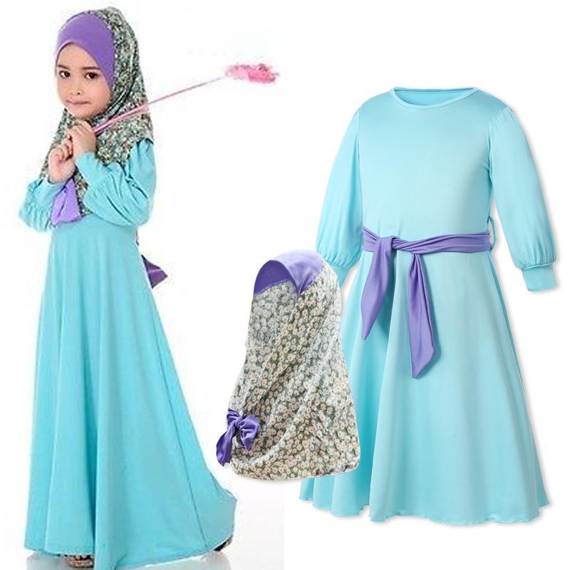 Muslim Arab Kids Girls Long Sleeve Maxi Dress Set Hijab Abaya Kaftan Prayer Dubai Party Ramadan Children Costumes Holiday Outfits