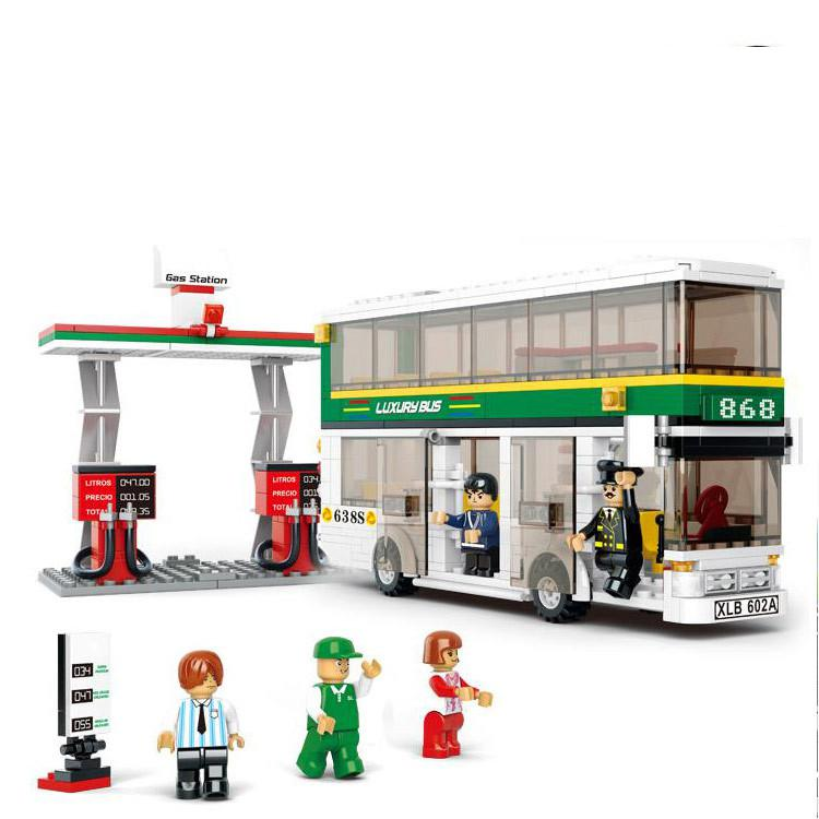 BOHS Building Blocks City Luxury Double Decker Bus Gas Station Plastic Toys for Children bohs building blocks city police station coastal guard swat truck motorcycle learning