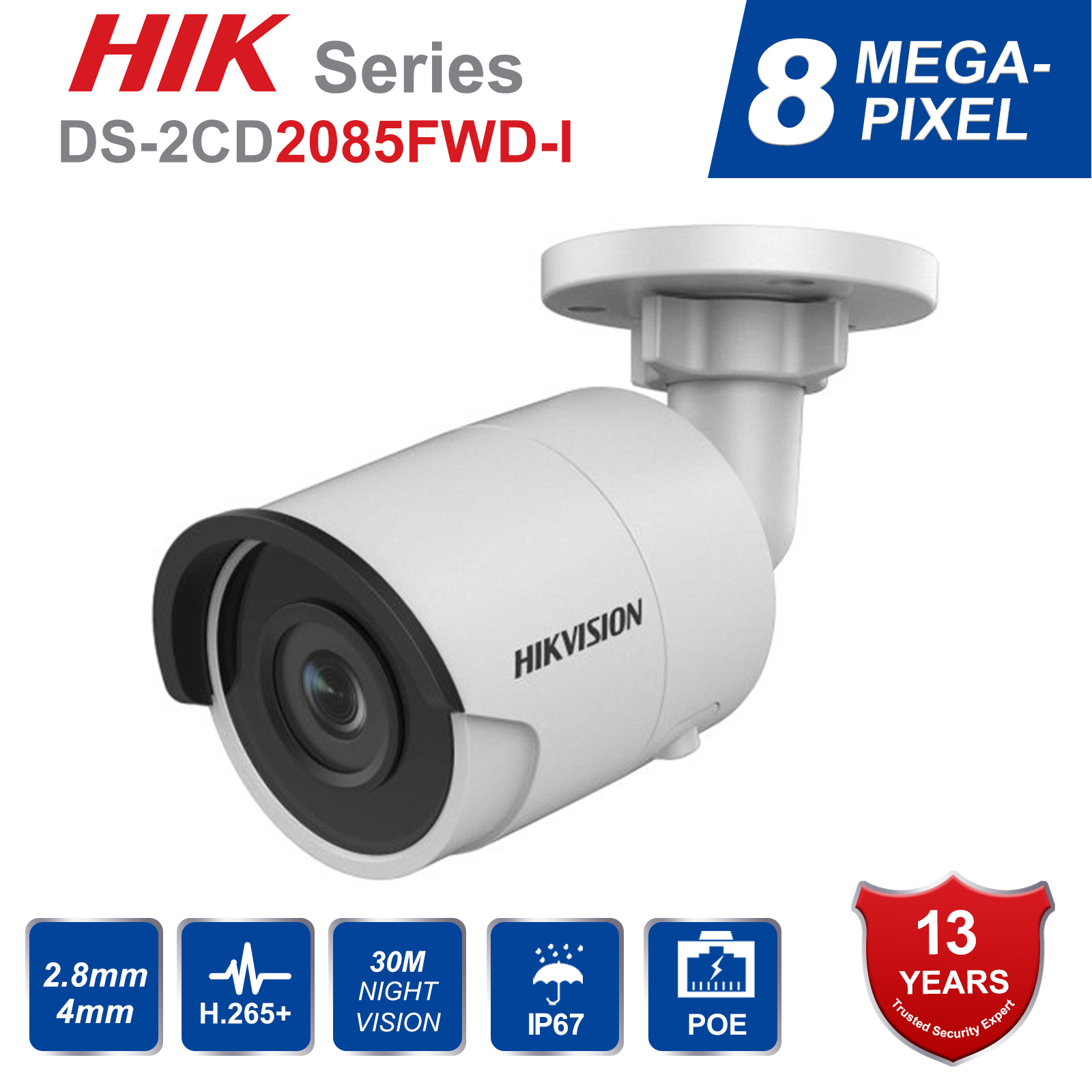 Video Surveillance Hik 8mp Cctv Camera Updateable Ds-2cd2085fwd-i Ip Camera High Resoultion Wdr Poe Bullet Security Camera With Sd Card Slot