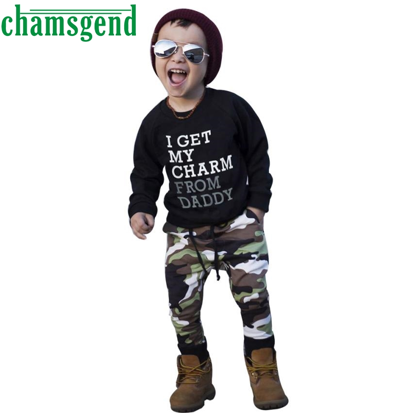 kids clothing set Winter Toddler Kid Baby Boy Clothes Set Letter T shirt Tops+Camouflage Pants Outfits P30 fashion children db21 free shipping 2016 summer new arrive letter fashion children boy clothing set 100