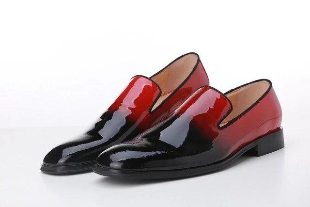 De Cuero Rojo Negro Mocasines Primaveraotoño Hombres Zapatos Pisos Remiendo 2017 Color 4Zza8Oqnw