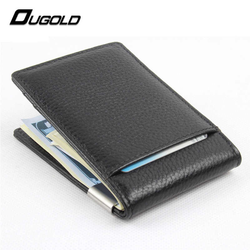 100% genuine leather 2017 New fashion money clips wallet men dollar price metal clips for money thin wallets