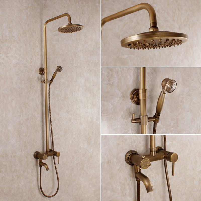 Antique Bathroom Shower Set Rainfall Vintage Bathroom Mixer Bronze Shower Set Copper Bathroom
