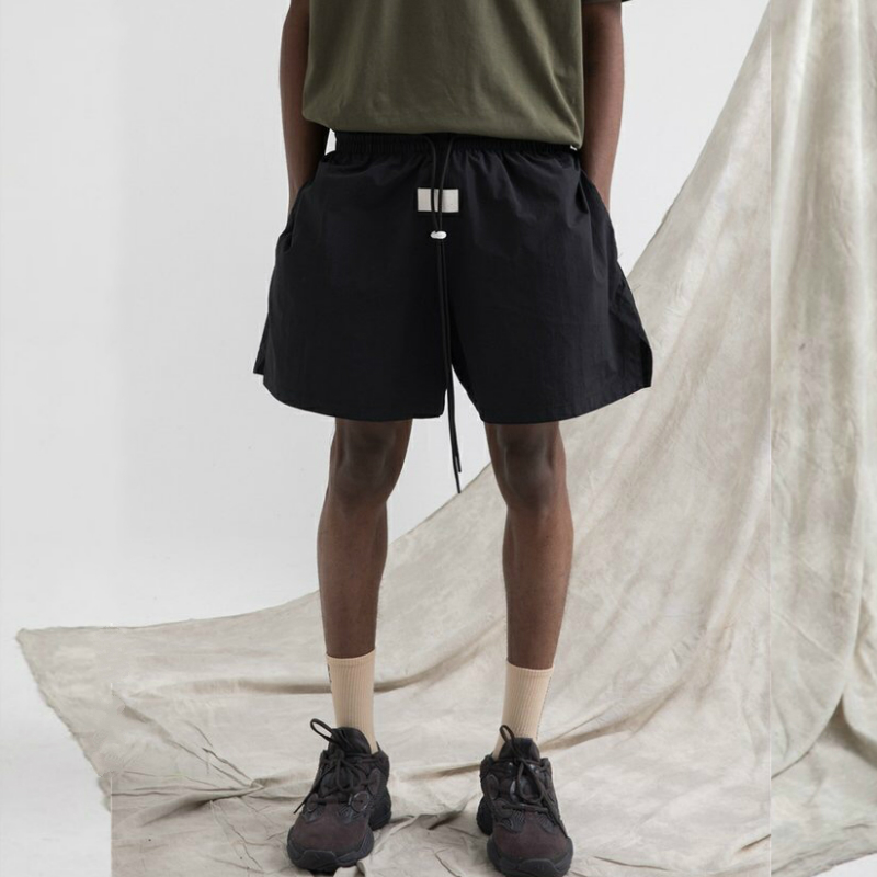 Summer Justin Bieber Long Drawstring Cords Lightweight Shorts Hip Hop Loose Fit Track Shorts In Green/Black Zippered Pocket