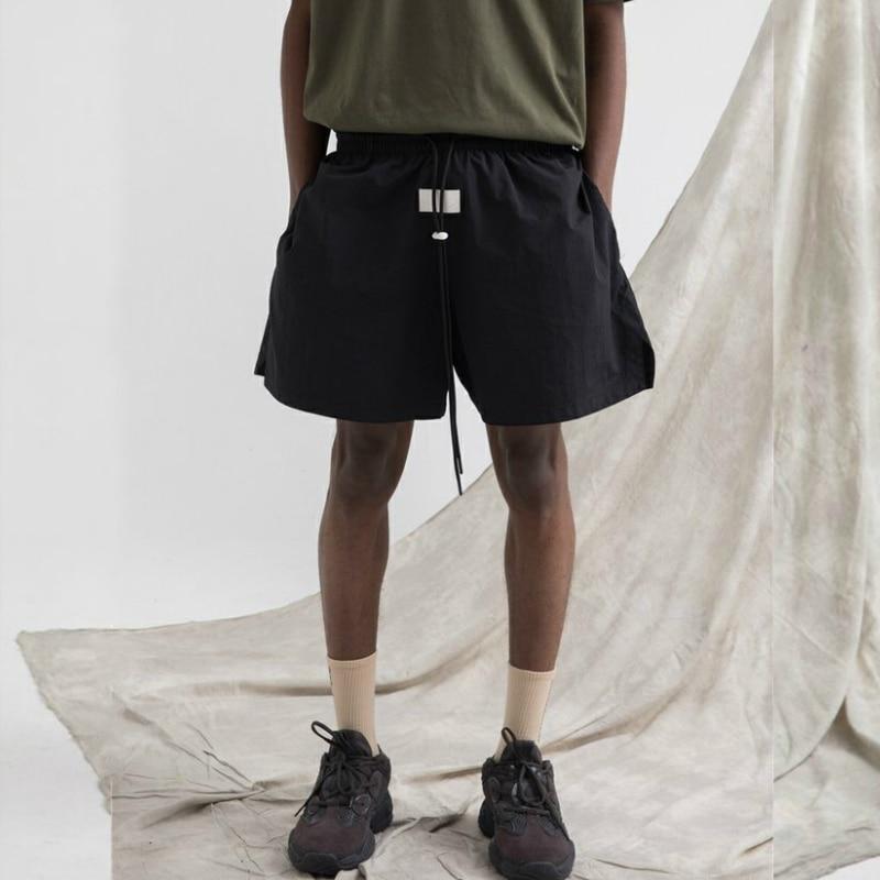 Summer Justin Bieber Long Drawstring Cords Lightweight Shorts Hip Hop Loose Fit Track Shorts In Green/Black Zippered Pocket