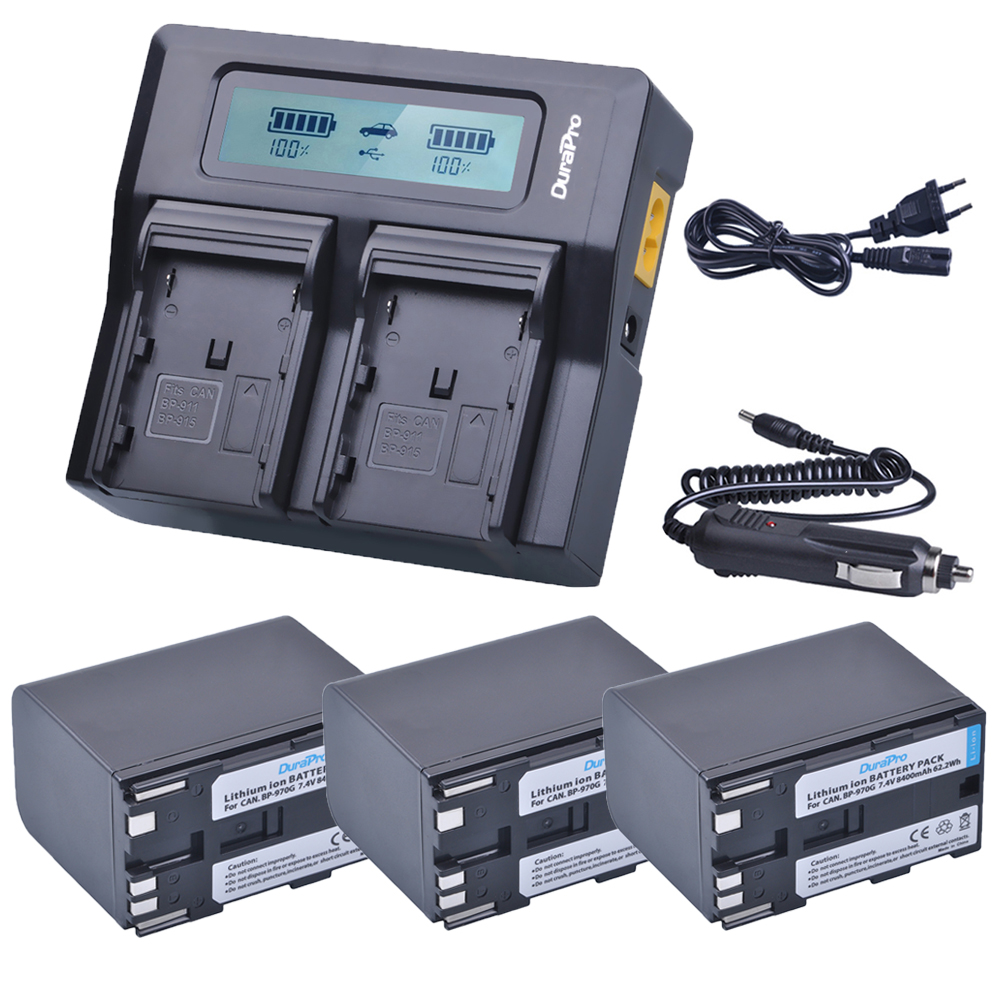 3 x 8400mAh BP-970G BP 970G BP-975 Batteries + LCD Dual Quick Charger Kits for Canon EOS C100,Mark II, EOS C300, XF100, XF105 canon bp 970g
