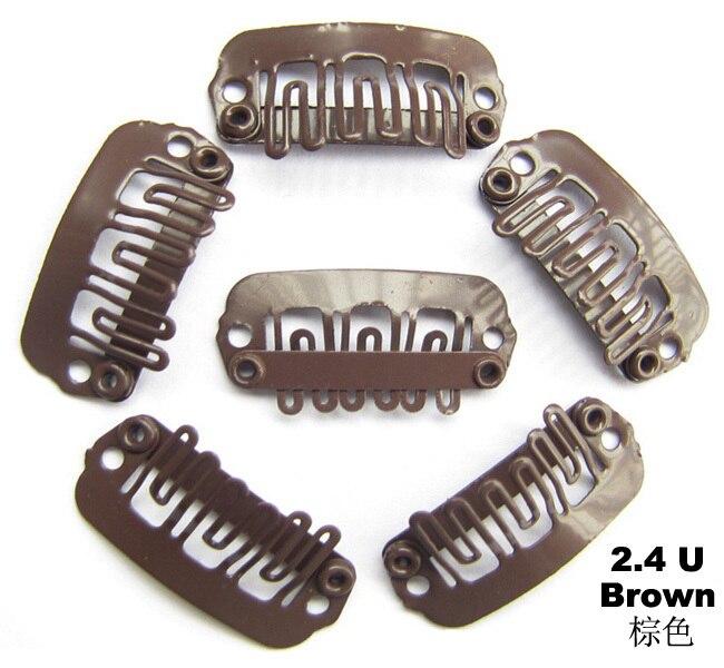 100 шт/лот волосы расширители один защелкивающиеся зажимы для заколка для шиньона клип 24 мм цвет коричневый