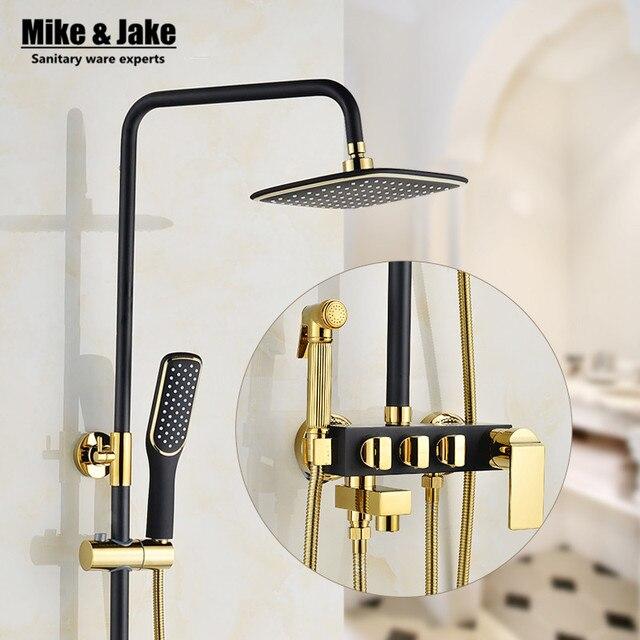 Bathroom Luxury black Golden shower mixer with bidet shower ...