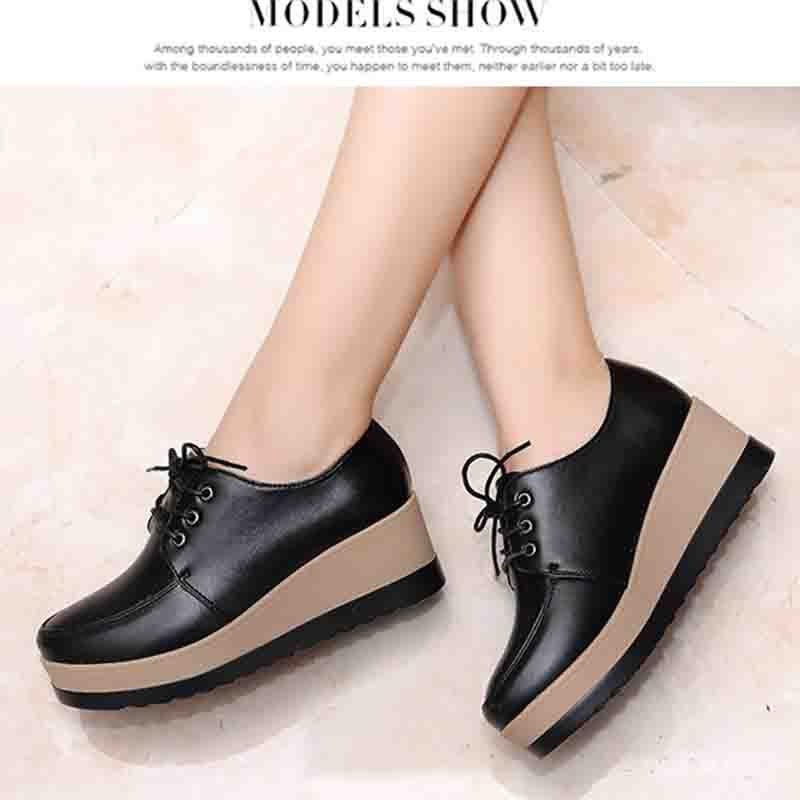 wedge Women Platform Oxfords Brogue Flats Shoes Patent Leather Lace Up Pointed Toe Luxury Brand Beige Black Creepers ladies shoe enmayer pointed toe summer shallow flats slip on luxury brand shoes women plus size 35 46 beige black flats shoe womens