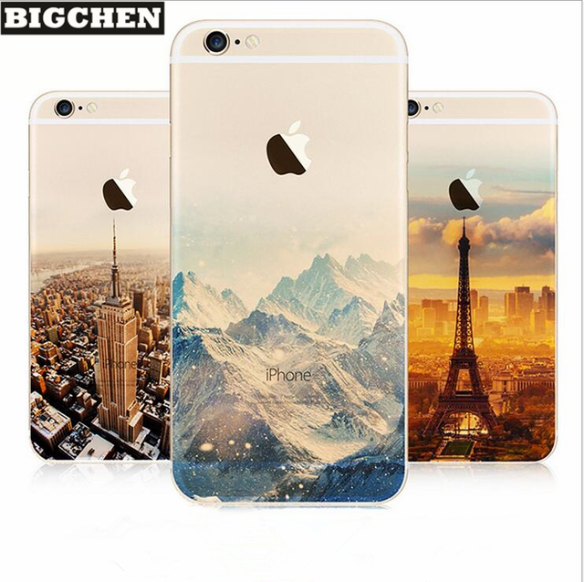 BIGCHEN TPU Case For iPhone 5 5S 6 7 8 Plus Ultra Thin Soft Waterproof Silicon Mountain Landscape For iphone X Case Phone Cover