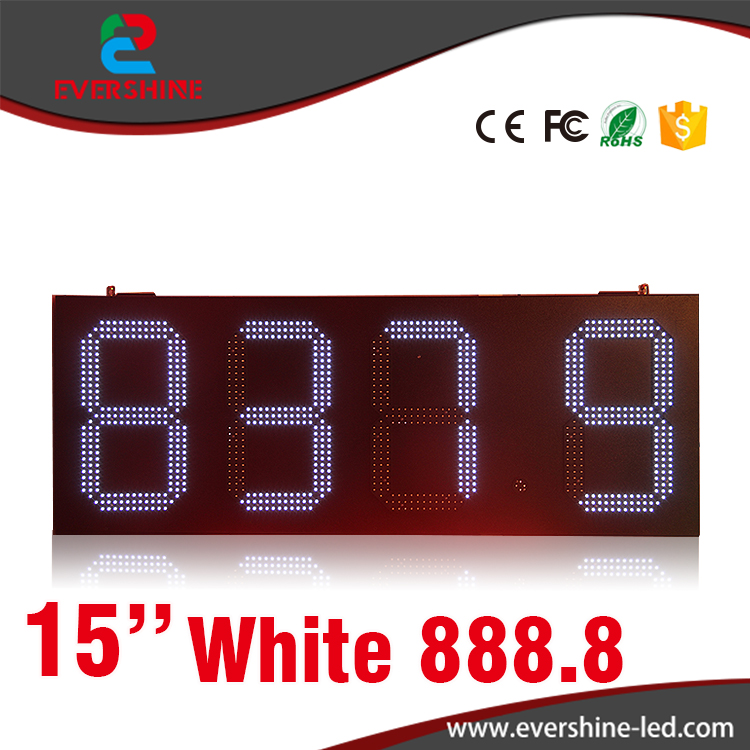 Gas station LED digital 15'' number price display led sign board white display hd high quality led gas price display sign outdoor led billboard green color 12 outdoor led display screen